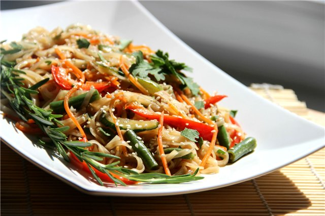 Фунчоза с курицей и овощами рецепт и пошаговым приготовлением