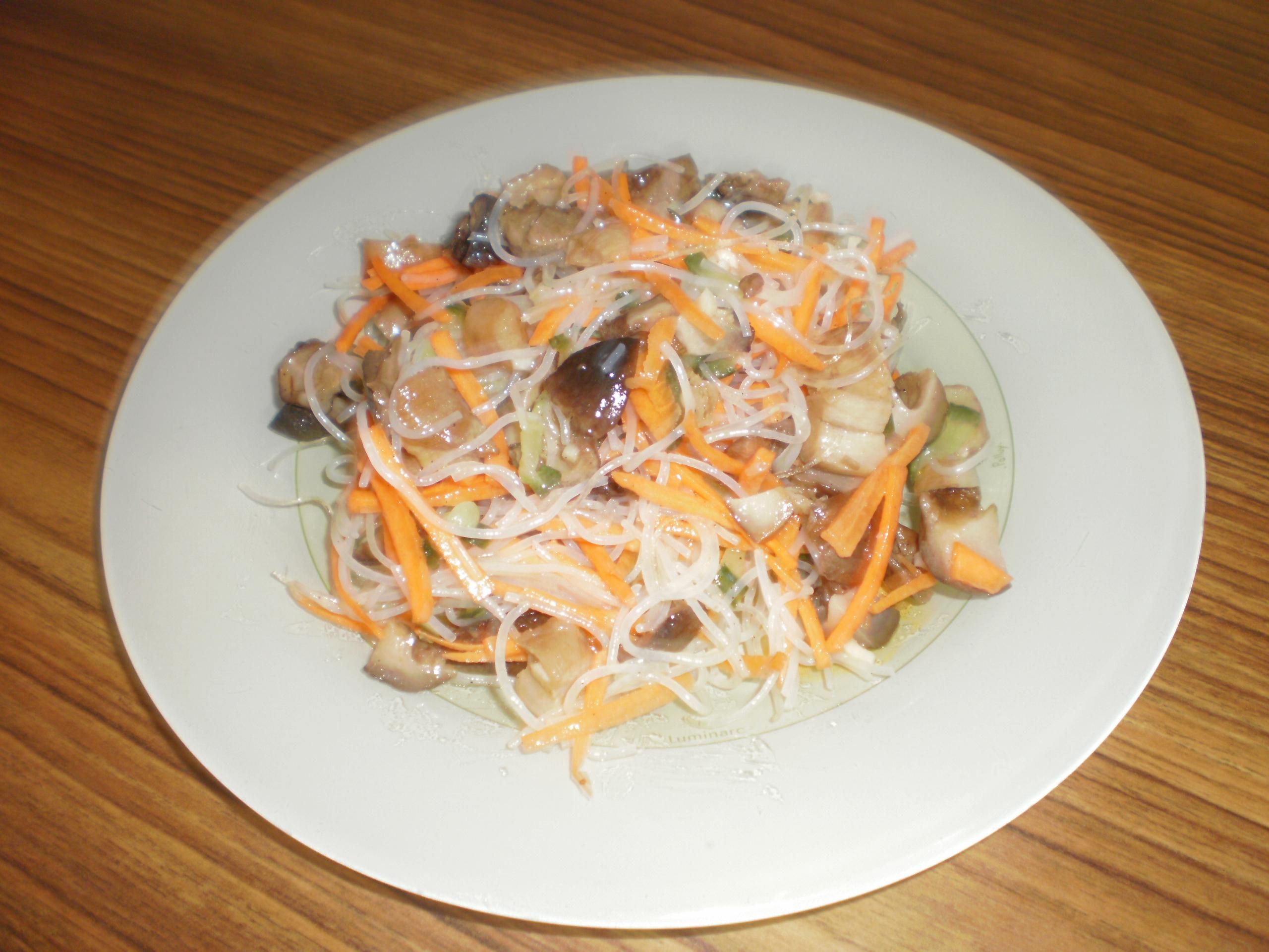 Салаты из фунчозы с грибами рецепты с
