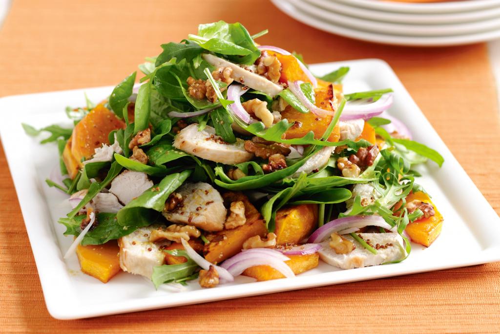 Салат из тыквы запеченной и сырой