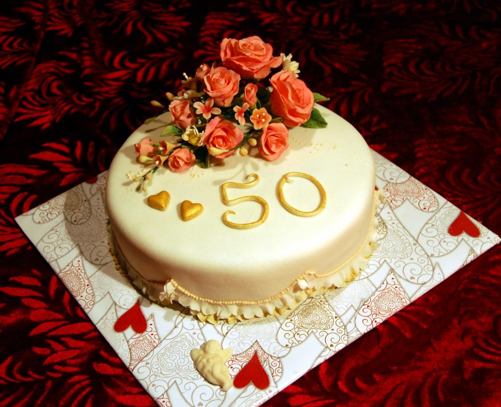Открытка торт 50 лет, для ветерана