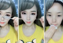 Азиатские женщины до и после макияжа