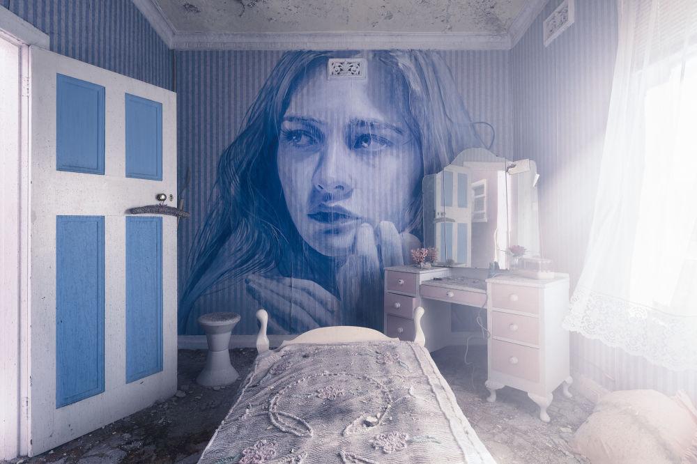 Красота мимолетна: удивительные женские портреты на стенах заброшенных домов