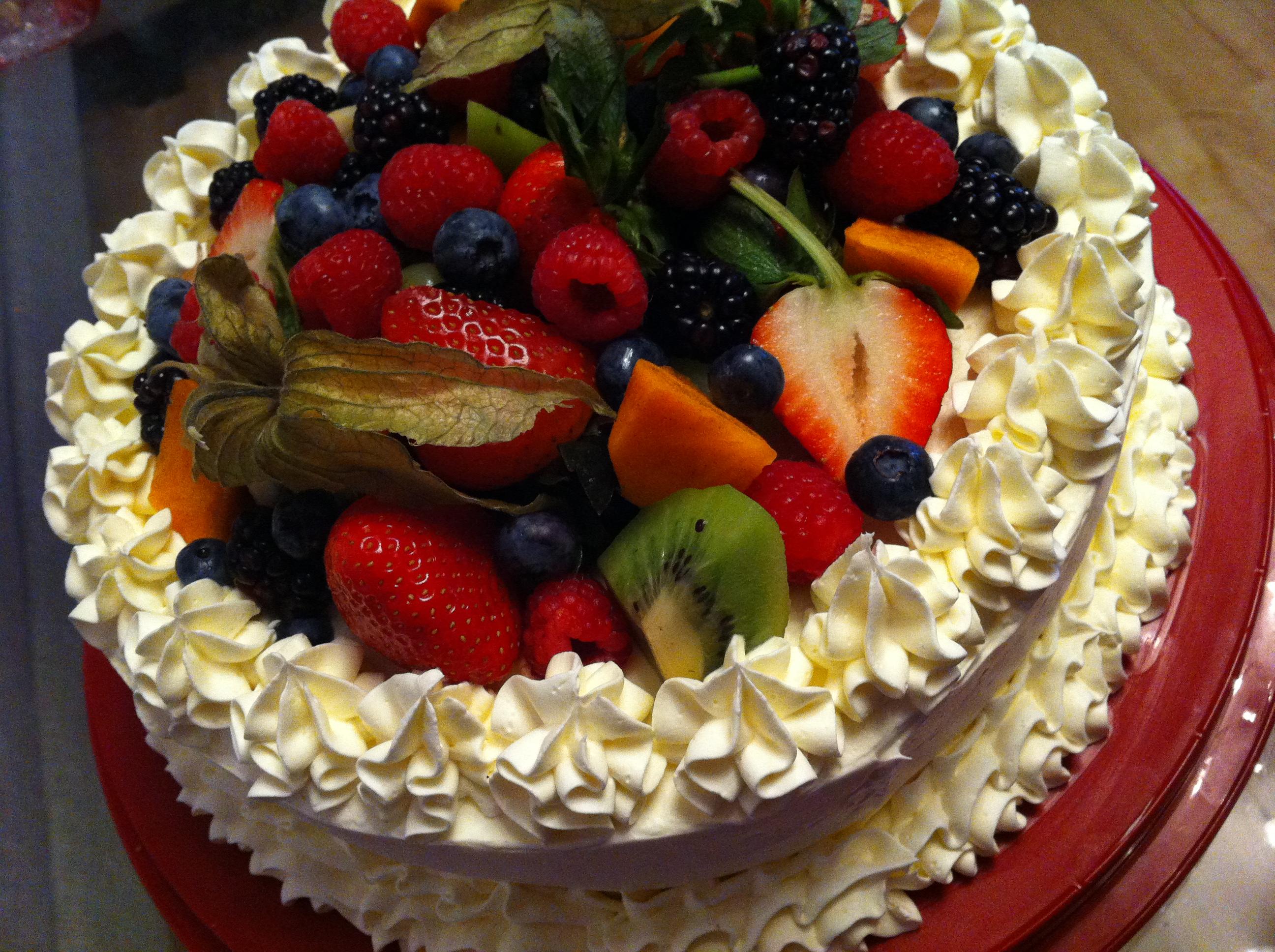 Открытка фруктовый торт, для любимой тети