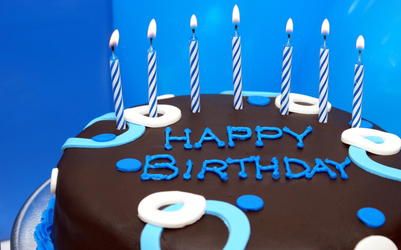 С днем рождения синяя открытка