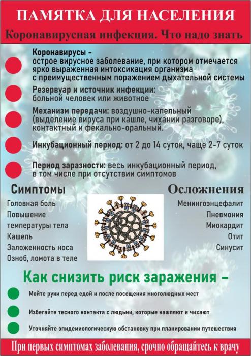 памятка для населения по коронавирусу
